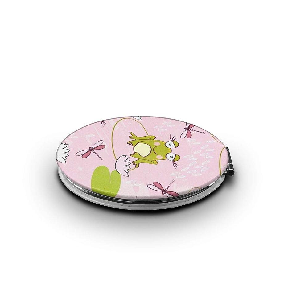 変更昆虫醸造所ミラー 化粧鏡 甘いカエルとトンボのパターン コンパクトミラー 軽量 丸型 折りたたみ鏡