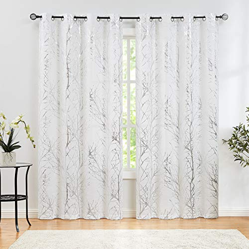 """Semi Sheer Curtains Silver Metallic Print White Tree Curtain Panel for Living Room Bedroom Modern Branch Pattern Draperies for Windows 52"""" W x 108"""" L, Set of 2"""