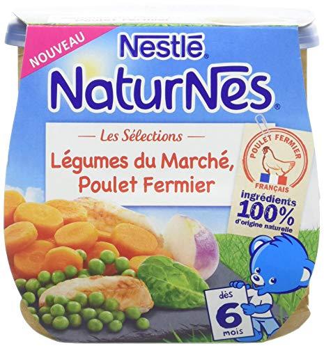 NESTLE NATURNES Les Sélections Petits Pots Bébé Légumes du Marché, Poulet Fermier - Dès 6 mois - 2x200g - Pack de 8 ( 16 Pots )