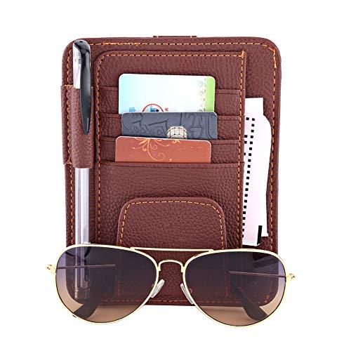 Portatarjetas de visera para automóvil, automóvil automotriz Organizador solar Tarjeta de almacenamiento Vidrio Crédito Portatarjetas de dinero Clip (marrón)