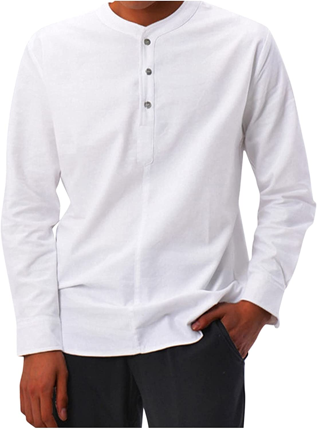Henley Shirt for Men Autumn Max 61% OFF Long Solid Sleeve Max 53% OFF up Color Ca Button