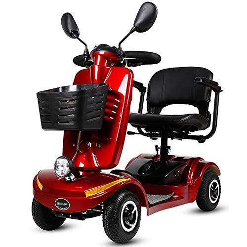 Elektromobile Für Senioren Faltbar,e-mobil Mini Scooter Elektro Elektrofahrzeug Elektromobil Für Erwachsene 120kg,elektroroller 4-rad,scooter E-mobil,seniorenfahrzeug,red