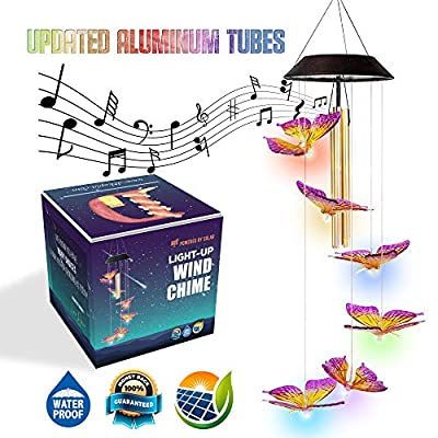 Dekopia [Updated] Solar Wind Chimes Butterfly with 03 Tuned Tubes Butterfly Solar Lights Outdoor Butterfly Wind Chimes Solar Butterfly Wind Chime Outdoor Color Changing Solar Mobile Night Garden