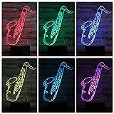 3D Luz Nocturna Para Niños, Led Ilusión Luces Nocturnas Saxofón Instrumento Musical 16 Colores Lámpara De Mesa Táctil Con Control Remoto Para La Hogar Decoración Regalos De Navidad Y Cumpleaños