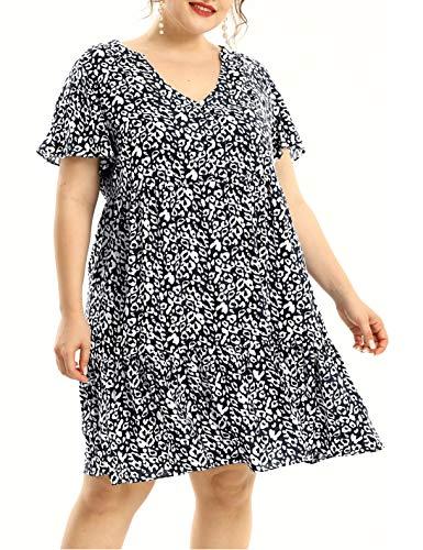 Plus Size Summer Dresses for Women Flowy Ruffle Light Dress (Leopard Black, 3X)