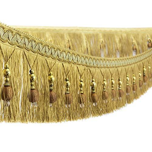 Apliques de tela con borlas de cuentas y flecos colgantes para la banda de la cortina, mesa de boda decorada, 1,8 m dorado