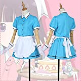 Anime Blend S Sakuranomiya Maika Cosplay Costume Halloween Cafe Waitress Lolita Maid Outfit Dress with Aprons and Gloves, 5 Colors,Blue,M