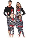 Aibrou Conjunto de Pijamas Navidad de Familia,Camiseta de Manga Larga + Pantalones Largos,algodón Rayas Suave Ropa Conjunto Familia a Dormir,Pijama Parejas. (Mujer Negro XXL)