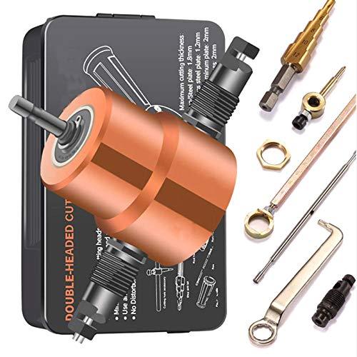 Blechknabber Cutter, Doppelspitze Blechschneiden Knabber Metallsäge Cutter 360 Grad verstellbarer Bohraufsatz mit Stanzwerkzeugen