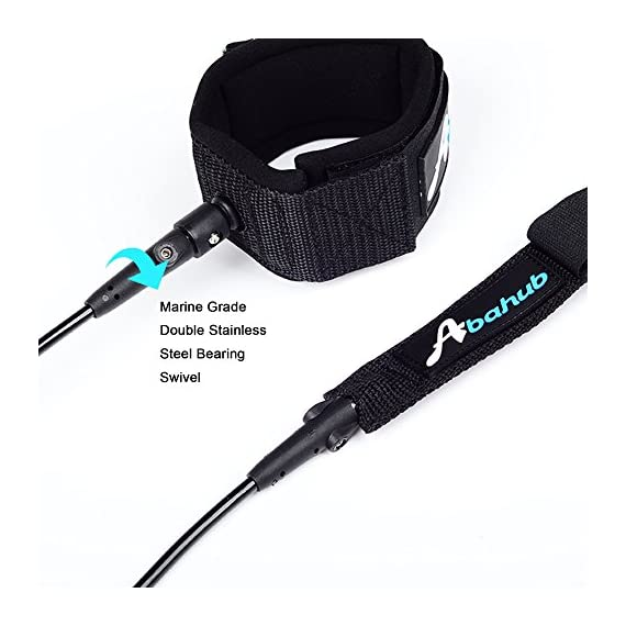 """Abahub Premium Surfboard Leash, Straight Surf Board Leg Rope, SUP Legrope Strap for Shortboard, Longboard, Paddleboard… 7 Full Range: Size options: 6ft, 7ft, 8ft, 9ft, and 10ft; 10 Color options: Black, Blue, Green, Clear Red, Clear Blue, Orange, Purple. It's recommended to choose a leash equal in length to or slightly longer than the board it will be used on. Strong & Safe: This leash is made of super strong 7 mm thick polyurethane cord, with molded-in double Stainless Steel swivels. The double wrap-around velcro cuff is to add extra strength and security to your connection. Comfortable & Easy: High-density neoprene padded 2"""" Ankle Cuff has an easy pull tab with a hidden key pocket."""