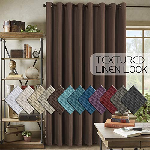H.VERSAILTEX Room Darkening Linen Curtain for Sliding Door (100' W x 84' L) Extra Wide Primitive Burlap Textured Linen Room Divider Curtain for Living Room/Patio (7ft Tall by 8.5ft Wide, Cocoa Brown)