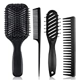 4Pcs Hair Brush Set For Men - Hair Combs For Men And Detangling Paddle Brush For Straight Long Thick Curly Natural Hair Brushes (Black)