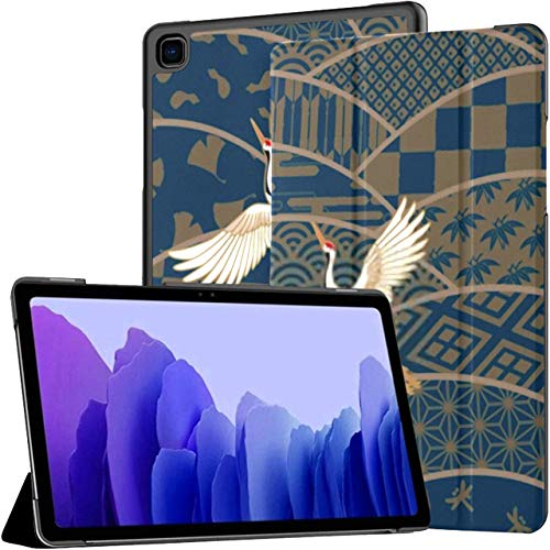 Estuche para Tableta Samsung Galaxy Tab A7 de 10,4 Pulgadas 2020 (sm-t500 / t505 / t507), Tres grúas Funda de Soporte de ángulo múltiple Tradicional japonés con Varios Patrones con activación/suspe