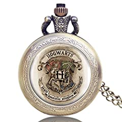 Exquisite Appearance: Movies extension Hogwarts school logo design in this pocket watch Mechanical Movement: Without the battery, you can spin the button on the top of the pocket watch. Then it will work normally. Practical: A trendy alternative to a...
