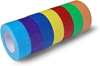 Colored Masking Tape - 7 Rolls 1 inch x 66yd Extra Long Quality(Premium) Roll, Decorative Tape - for Art, Laboratory, Label, Classroom Decoration and Teaching Supplies