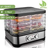 Food Dehydrator Machine, Electric Food Dryer for Jerky, Meat, Beef, Fruit, Vegetable and Preserving Wild Food, Temperature Control, 5 Trays, Knob/BPA Free