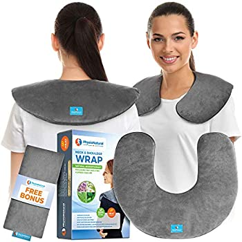 Microwavable Neck Wrap - Instant Relief for Stiffness Muscle Pain Tension and Stress Migraines Headaches - Moist Heat Therapeutic Pillow with Herbal Aromatherapy
