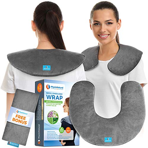 Microwavable Neck Wrap - Instant Relief for Stiffness, Muscle Pain, Tension and Stress, Migraines, Headaches - Moist Heat Therapeutic Pillow with Herbal Aromatherapy