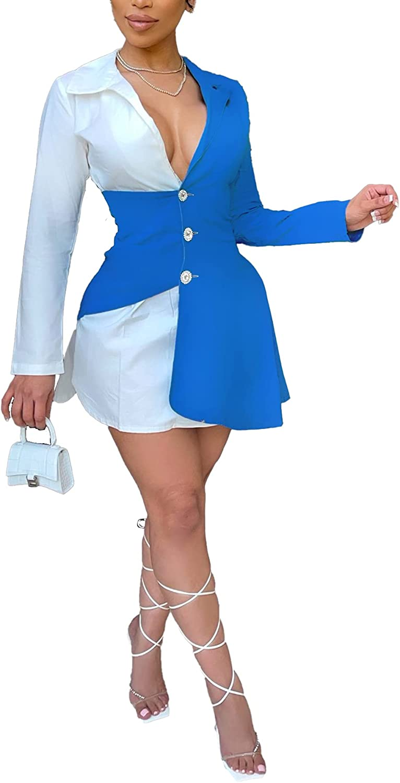 Vakkest Women's Blazer Dress Color Block Ruffle Deep V Neck Shirt Dress Elegant Casual Office BF Jacket Dresses