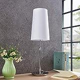 Lámpara de mesa Pordis (Moderno) en Blanco hecho de Textura, Tela, Tejido, Seda e.o. para Salón & Comedor (1 llama, E27, A++) de Lucande   lámpara de mesa textil