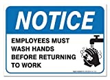 Sigo Signs Employees Must Wash Hands Sign, Before Returning to Work, 4 Mil Sleek Vinyl Decal Stickers Waterproof and UV Protected, 10x7 Inches, 2 Pack Made in USA