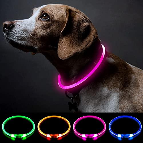 Collar de perro con luz rosa, collar de perro de seguridad personalizado con USB recargable, súper brillante, collar intermitente para perro, 4 colores para...
