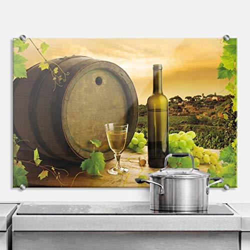 Spritzschutz Grapevine Küche Küchenrückwand Wein Glas Flasche Weintrauben Fass Wall-Art - 100x70 cm