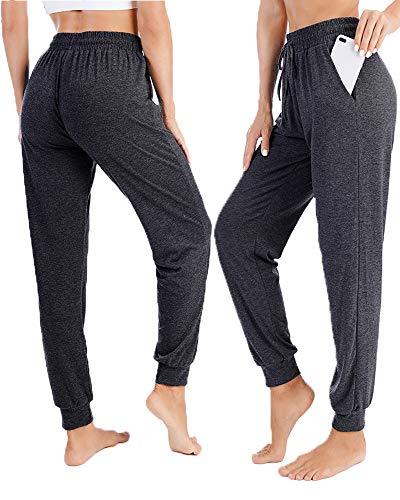 Women French Terry Jogger Lounge Sweatpants Active Capri Pants Wide Leg Yoga Pants Female Joggers Fitness Sport Pants High Waist Stretch Sports Lounge Trousers, Charcoal Grey XL