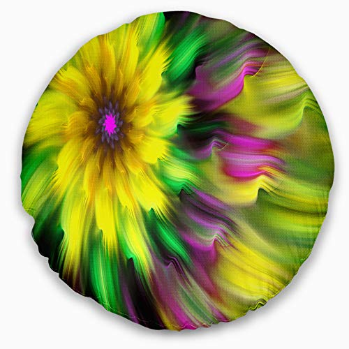 Designart Dance Of Yellow Exotic Flower Floral Throw Round Cushion Pillow Cover For Living Room Sofa 16 Shefinds