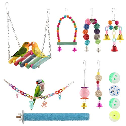 Global-store Bird Parrot Toy Set, 12 Pack Bird Toys Parrot Swing Toys Chewing Toys, Colorful Hanging Bell Pet Cage for Cockatiel Parakeet Macaws Finches Conures Lovebirds Small Medium Birds