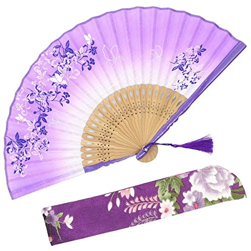 "OMyTea 8.27""(21cm) Women Hand Held Silk Folding Fans with Bamboo Frame - With a Fabric Sleeve for Protection for Gifts - Chinese/Japanese Style Butterflies & Morning Glory Flowers Pattern (Purple)"