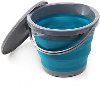 BBGSFDC 5L Pliable Silicone Seau avec Couvercle en Plastique Pliable pêche Bucket Cuisine extérieure Jardin Camping Voyage...