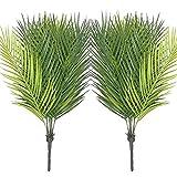 Faux Tree Plantas Artificiales Palm Greenery Árbol Tropical Faux Fake Palm Fronds Plant para Arreglos De Fiesta Decoraciones De Boda 2 Piezas Faux (Color: Verde) Decoración del Hogar