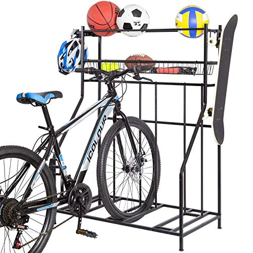 Bike Rack with Storage, 3 Bike Stand for Garage Black Free-standing Floor Parking Bicycle Rack with Basket and Ball Rack, Great for Mountain, Hybrid or Kids Bikes, 2-Tier Storage Garage Organizer
