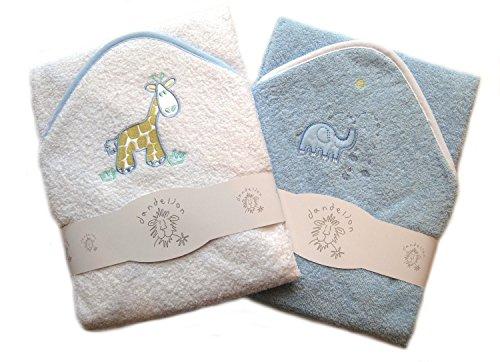 Hochwertiges Baby-Kapuzenbadetuch, 2er-Set, 100 % Baumwolle, mit niedlichen Tierapplikationen Gr. Säugling, blau