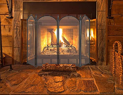 JLXJ Pantalla Chimenea Mamparas de Chimenea Plegables, Hierro Forjado de 4 Paneles Cerca de La Guardia de La Chispa del Fuego, para Estufa de Leña Accesorios, Grande (Size : 120×80cm(47×31 Inch))