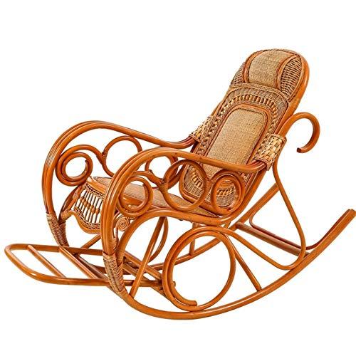 ZYLE Silla Mecedora Grande de Madera Maciza para Adultos reclinador de Adultos balcón ratán Perezoso Mecedora Silla 145x102x65cm