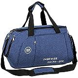 MUCO スポーツバッグ ジムバッグ メンズ レディース ダッフルバッグ 大容量 2way シューズ収納 乾湿分離 撥水 軽量 ボストンバッグ 修学旅行 機内持込 旅行バッグ 25L ブルー