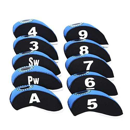 10pcs/Set Golf Iron Club Head Covers with Numbers Neoprene Top Window Iron Covers(White&Black)