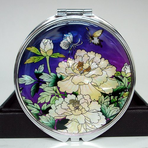 Mother of Pearl Purple White Peony Flower Design Cosmetic Double Compact Magnifying Purse Mirror by Antique Alive