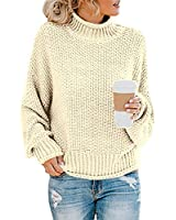 Glanzition Womens Plus Size Sweaters Pullover Oversized Loose Fit Clothing White XXL