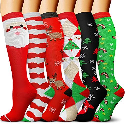 Christmas Compression Socks for Women & Men 6/3 Pairs 15-20 mmHg - Best Medical, Nursing, Hiking, Travel & Flight Socks