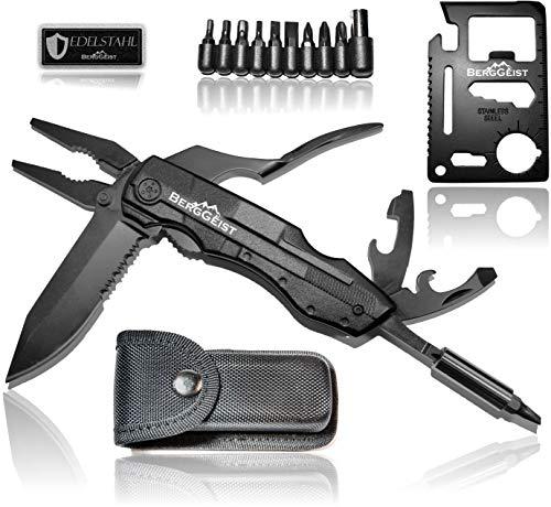 BERGGEIST® Multi-Tool Survival Taschenmesser Set aus Edelstahl | Klappmesser & Zange | Inklusive EDC Kreditkartenmesser | Weihnachtsgeschenk [2019]
