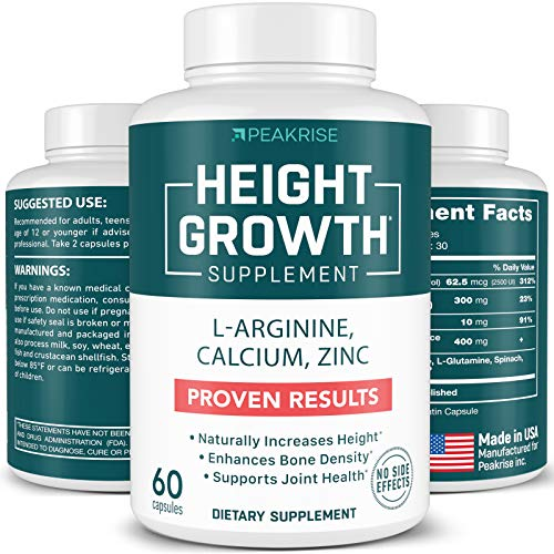 PEAKRISE HEIGHT GROWTH SUPPLEMENT L-ARGININE CALCIUM, ZINC 60 CAPSULES