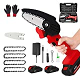 Mini Chainsaw Cordless, Portable 24V Electric Chainsaw,One-Hand Lightweight,Household Small Handheld Electric Saw for Wood Cutting, Tree Pruning (2pcs Batteries +4pcs Chains+2pcs Guide Plate ,Red)