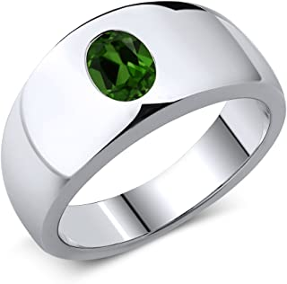 0067844c3fb3 1.20 Ct Oval Green Chrome Diopside 925 Sterling Silver Men s Ring