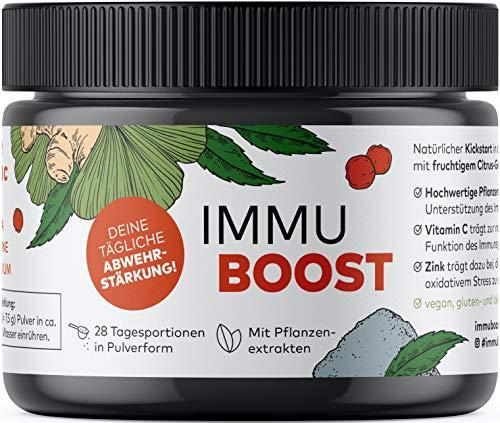 ImmuBoost® Drink | Pulver für 28 Tage | 1 Tag 1 Drink | Immunsystem stärken | 4 Wochen Immunkur | Mit Vitamin C, Zink, Ingwer, Acerola und Magnesium | Stärkung der Abwehrkräfte | vegan & hochdosiert