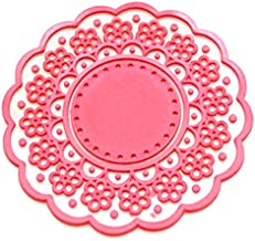 BESTONZON Cute Translucent Hollow-Out Lace Pattern Non-Slip Insulated Round Silicone Cup Coaster Mat Pad Holder (Red)