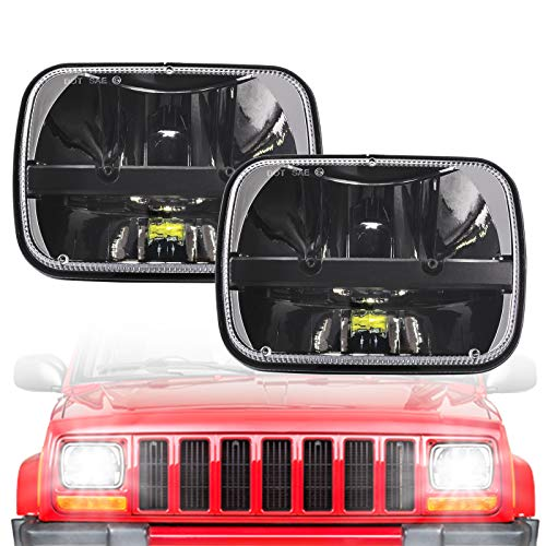 Rectangular 5x7 Led Headlights 7x6 Led Sealed Beam Headlamp H6054 Led Headlight with High Low Beam For Jeep Wrangler YJ Cherokee XJ Offroad Toyota Pickup Trucks Replace H5054 H6054LL 69822 6052 6053