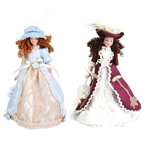 2 Pz Bambole Miniatura Porcellana Vittoriana Doll Decor Casa Giocattoli Bambini Regale